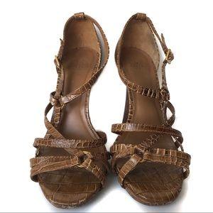 Tory Burch Elizabeth Snakeskin Strappy Heels